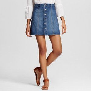 Mossimo Denim Mini Skirt / Button Down Jean Skirt